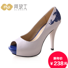 Alang ethnic embroidery shoes, spring 2016 waterproof fish mouth shoes high heel blue and white porcelain 062