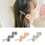 Know Richie leaves sweet metallic flower hair accessories hair clip bangs clip retro twist clip flower head ornaments