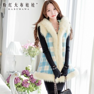 Wool coats women long pink doll winter 2015 surge in fake-fur collar vest Plaid coat