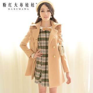 2015 windbreaker Jacket Women autumn and winter long in the big pink doll song Korean small lapel wool coat