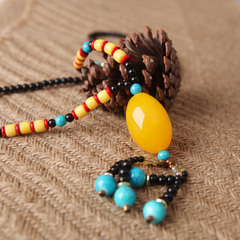 Young singers '' original handmade beeswax pendant necklace accessories vintage ethnic girls long necklace