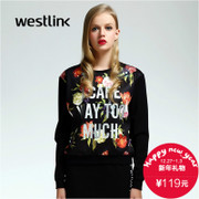 Westlink/West New Joker 2015 winter alphabet flower print round neck long sleeve turtleneck women's sweater