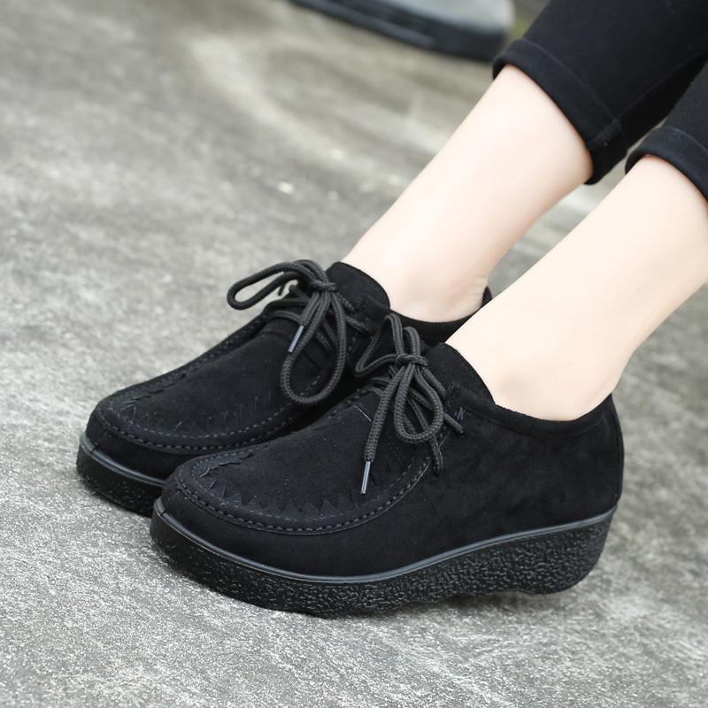 老北京布鞋女鞋坡跟搖搖鞋女韓版松糕跟豆豆鞋百搭圓頭繫帶女單鞋
