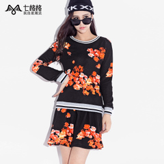 Spring of seven space space OTHERMIX2015 new color printing black turtleneck t hat-free sweater women
