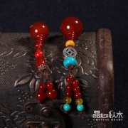 Natural red agate Crystal heart like water semi-finished Buddha-hood tee sweater DIY chain pendant pendants