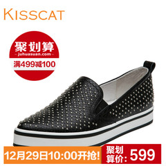 KISS CAT/kiss the cat tipped rivet stylish sneaker casual lazy with flat shoes D55785-03SC
