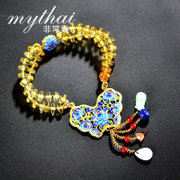 Thai hand-woven tassel Butterfly blue gold-plated gold beads multi-ethnic isolation ladies bracelet