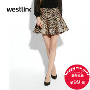 West fall 2015 new Leopard print dress fashion character mosaic bust waist a skirt for Lady's umbrella