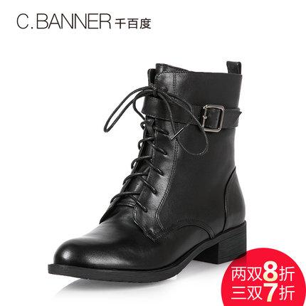 C.BANNER/千百度 冬季牛皮帅气马丁靴系带短靴A5518706