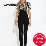 West meets romper girl fall 2015 new hole in the Korean version of the wave casual jeans pants feet pants black