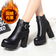 2015 winter new style crude platform high heels nude boots pull crude with round heads and plush short boots winter boots women's shoes