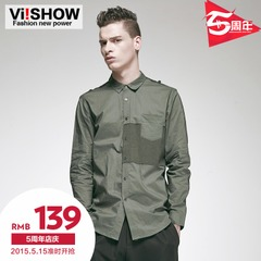 Viishow2015 spring and autumn new shirts men's European and American minimalist color shirt cotton long sleeve shirt with long sleeves