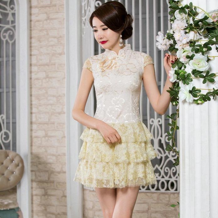 旗袍夏季2018新款日常少女礼仪服装迎宾改良时尚学生短款气质优雅