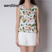 Westlink/West print sleeveless t shirt women's clothing