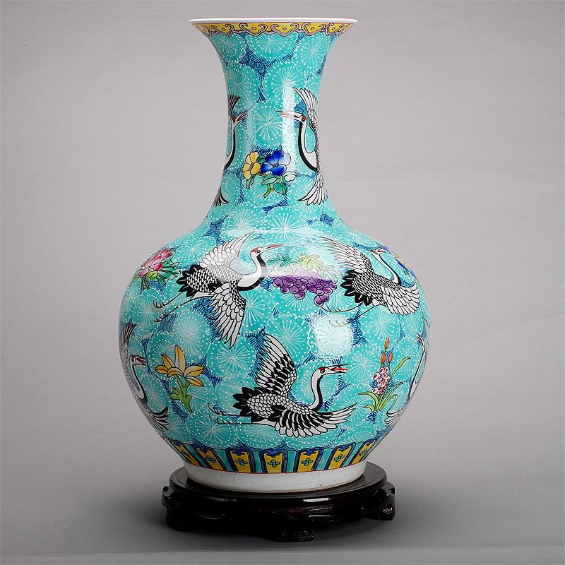 201大号景德镇陶瓷 手绘粉彩花瓶 客厅花瓶家居装饰品工艺品摆件