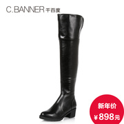 C.BANNER/simple Knight banner 2015 winter leather boots chunky heels high boots A5522902
