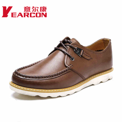 Erkang authentic men's shoes in spring and autumn the new leather soft shoes with comfort-tie everyday casual shoe