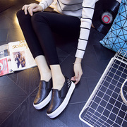 2015 winter thick PU Le Fu, low casual shoes sneakers shoe rivets lazy a pedal the Korean version and velvet shoes women