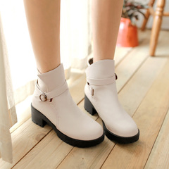 2015 new winter boots heavy with round-headed Martin boots boots belt buckle slip in sleeves and bare boots women