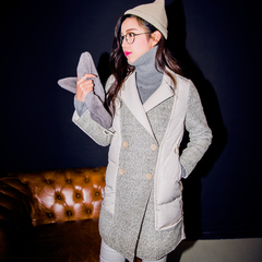 QUEENZZ Europe and the socialite winds fall/winter 2014 new spell woolen cloth fake two pieces of warm down jacket down #