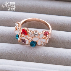 Beauty is just too color female flower diamond ring rings Korean popular water accessories holiday gift I0040