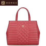 Honggu red Valley women for 2016 counters new classic rhombic pattern of pure color leather handbag 6954