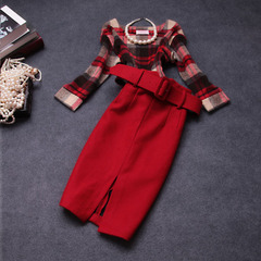 Fall/winter 2014 new European fashion elegance slim Pack hip in plaid wool suit sleeve dress
