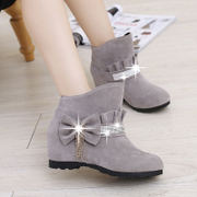 2015 new nude Korean women short boots shoes in winter tide increased in high school with shoes with Rhinestone student short tube women boots