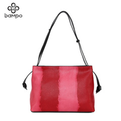 Banpo handbag official flagship store of 2015 market trend of the first layer of leather contrast color shoulder bag