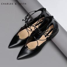 CHARLES&KEITH平底鞋 CK1-70300311 绑带尖头 女单鞋凉鞋