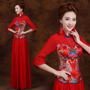 Toast clothing fashion 2015 new red wedding dress bride spring summer autumn Chinese style dress with long sleeves long