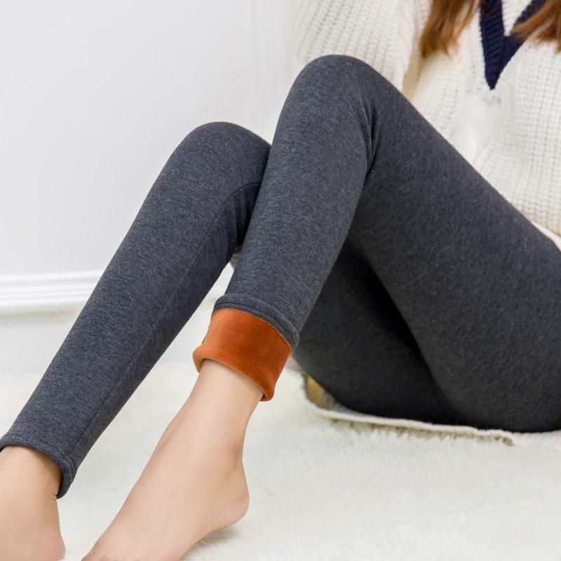 秋鼕季加絨加厚打底褲女士高腰顯瘦保暖長褲黑色緊身小腳外穿女褲