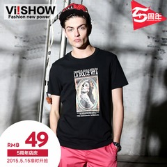 Viishow mens new short t men's Western wind t print slim fit cotton tee-men's wear clothing