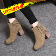 In autumn and winter the new coarse with tassel short boots high heel leather boots Martin short tube boots woman boots ankle boots and bare boots