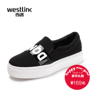 Westlink/West spring 2016 new alphabet black and white platform trifle canvas Lok Fu shoes girls casual shoes
