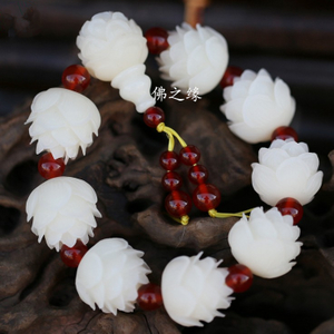 Natural white jade bodhi root lotus bracelet men's and women's bracelet bodhi seed seed buddha jewelry