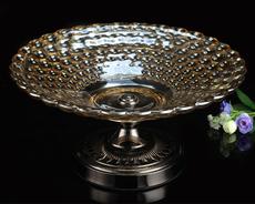 格嘉睿尔欧式家居金属玻璃水果盆摆件新古典水晶感圆珠果盘特大号