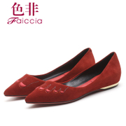 Faiccia/limited new non fall 2015 counters authentic sheep Beijing pointed high women's shoes 7C01
