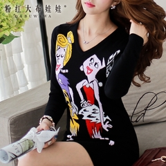 2015 summer dress big pink doll dress slim long sleeve knit sweater dress
