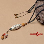 Ancient tree vines handmade necklace Qian eye pendant Mori girl long necklace ethnic Vajrabodhi cotton and linen accessories