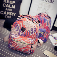 Us about Backpack woman-fall 2015 the new Korean version of weave handbag color mini leisure tide small backpack bag