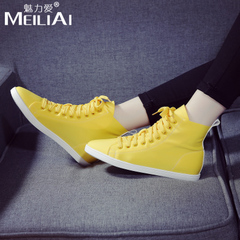 Spring of 2016 new Candy-colored canvas casual shoes Korean sport shoes women shoes with high shoes strap flat