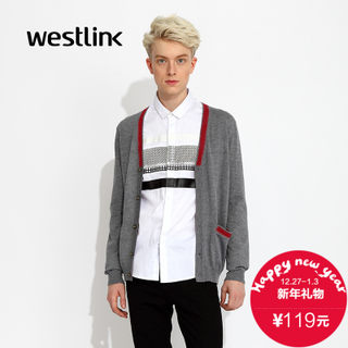 Westlink/West fall 2015 new contrast color stitching v collar single breasted Cardigan men's jackets