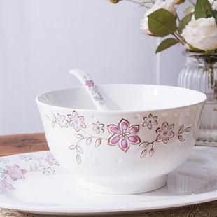 雅诚德 中式陶瓷碗餐具套装家用小米饭碗盘子浮雕汤碗餐具