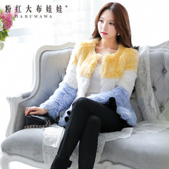 Female winter fur coat pink spell than larger dolls 2015 new sweet yellow and blue faux fur coat