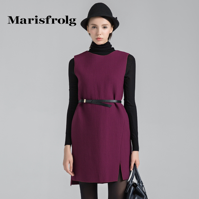 Marisfrolg玛丝菲尔 典雅柔美修身羊毛连衣裙 专柜正品冬季女装