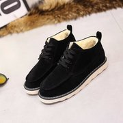 C plus down Korean winter shoes students tie flat casual fur shoes women shoes