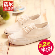Becky autumn new low canvas shoes Korean version of the solid white shoes a breathable student shoes flat shoes-mail