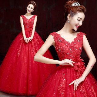 Bride wedding dress new 2015 fashion simple alignment red wedding dress spring/summer slimming plus size skinny shoulders