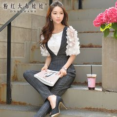 Shirts girls big pink doll fall 2015 new ladies inlay solid flower slim sleeve shirt women